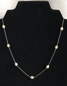Vintage 18K White Gold RGP Pearl Necklace Signed 18KRGP