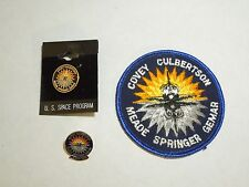 Lot of 3 NASA Space Shuttle Mission STS-38 Atlantis Iron On Patch and 2 Pins