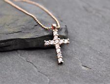 Kreuz Zirkonia Rose Gold Halskette Kette Anhänger Kommunion Geschenk in Rosegold