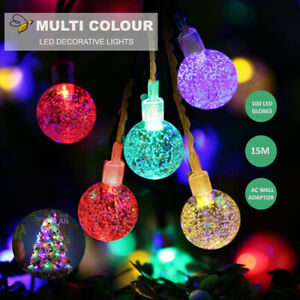 100 LED Xmas Christmas Light Ball Bulb RGB Multi Color 10M String Lights AU Plug