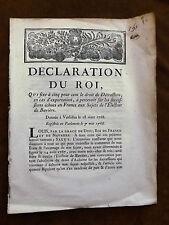 DECLARATION DU ROI QUI fixe à cinq pour cent le droit...Electeur de Bavière.1768