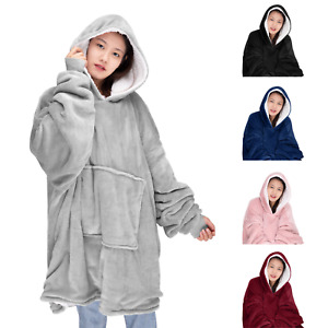 Unisex Oversized Sherpa Hoodie Ultra Plush Baggy Comfy Hooded Blanket One Size