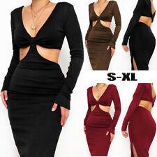 Womens Sexy V Neck Cut Out Bodycon Split Slinky Ribbed Dress Party Clubwear UK