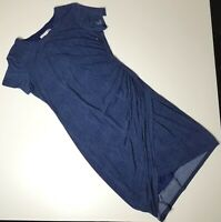 Maggy London Faux Wrap Side Ruched Dress Blue NEEDS REPAIR Size 14