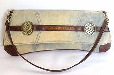 Rocawear Satchel Womens Denim Blue Jean Fabric Handbag Baguette Clutch Bag Purse