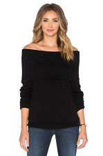 Autumn Cashmere Off Shoulder Sweater Black Size M NWT $310 100% Cashmere