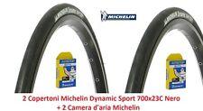 """2 Copertoni + 2 Cam. Michelin Dynamic Sport 700x23C Nero x Bici 28"""" Fixed Scatto"""