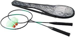 Coppia Di Racchette Badminton Con Custodia Borsa Trasporto + Volani dfh