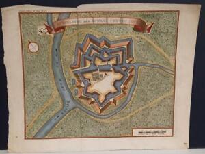 CREVECOEUR 'S-HERTOGENBOSCH  NETHERLANDS 1740 TIRION ANTIQUE COPPER ENGRAVED MAP