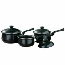 3pc Non Stick Cookware Set Saucepan Pot With Lid Fry Frying Pan Black