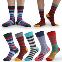 Mens Happy Socks Mix Color Striped Cotton Brand Quality Hip-hop Sports Casual