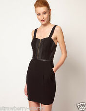 Oasis Zip Front Dress with Leather Look Trim Taq Price £60 UK 10 EU 38  Black