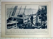1915 WWI WW1 PRINT KITE BALLOON ON BOARD GAS CYLINDERS FOR INFLATING AFTER DECK
