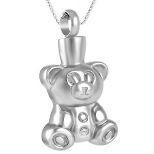 NEW! J218 Silver Teddy Bear Cremation Jewellery Pendant Necklace