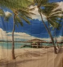 Ambesonne Shower Curtain, Exotic Beach Water and Palm Tree by The Shore  Long