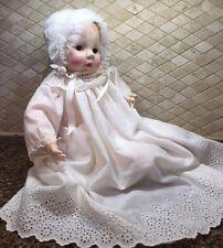 "Vintage 1966 Madame Alexander 20"" Victoria Baby Doll  Bonnet Christening tag"