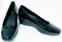 AS NEW HUSH PUPPIES WOMENS MID WEDGE BLACK LEATHER COURT DRESS SHOES 39 OR 8