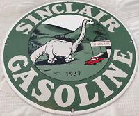VINTAGE SINCLAIR GASOLINE PORCELAIN SIGN GAS STATION PUMP PLATE MOTOR OIL DINO