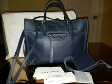 e639756b430 Balenciaga Mini Papier A4 Tote Crossbody Handbag Navy Blue Leather Silver HW