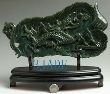 Natural Nephrite Jade Dragon Fan Statue / Carving / Sculpture / Art