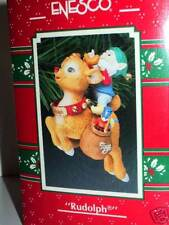 ENESCO Ornament 1991 RUDOLPH red nose reindeer HTF NEW