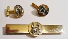 ensemble bijou homme pince cravate ancienne bouton manchette couleur or 2641