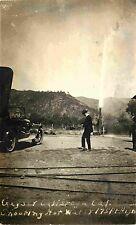 Geyser Shooting Hot Water 175 feet, Spectator & 20's Auto, Calistoga CA RPPC