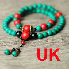 Tibet Buddhist 54 turquoise Green 6mm prayer beads Bracelet Necklaces uk