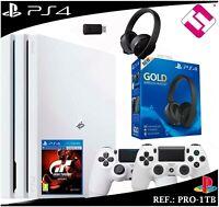PS4 PLAYSTATION 4 PRO 1TB BLANCA MANDOS AURICULAR GOLD 7.1 GRAN TURISMO GT SPORT