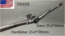Carbon MTB 3K Road Bike Riser Handlebars 25.4*700mm Bicycle 50mm ±7° Short Stems