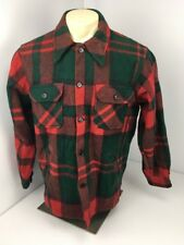 Vtg WOOLRICH BUFFALO PLAID RED Green WOOL Shirt  JACKET USA LUMBERJACK MACKINAW