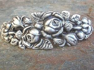 Antiqued Silver Plated Rose Brass French Clip Barrette Made in USA New  6013S