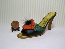 Decorative Shoe / Black w/ Red Flower