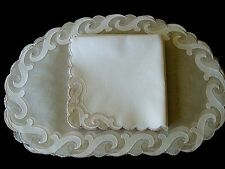 Fabulous Vtg Madeira Linen Organdy Placemats Oval Hand Embroidered Pristine