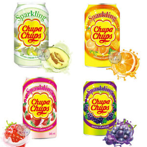 CHUPA CHUPS SPARKLING GRAPE, MELON,  ORANGE, STRAWBERRY DRINK CANS 345ML
