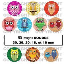 50 Images digitales à imprimer pour bijoux cabochon HIBOUX multicolore - RONDS