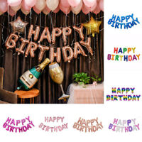Happy Birthday Balloon Banner Bunting Self Inflating Letters Party Decorations