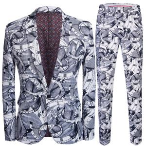 Mens Print Floral 2PCS Jacket+Pants Slim Fit One Button V-Neck Size Plus Casual