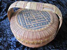 Oriental Basket w Handle Antique Old Signed