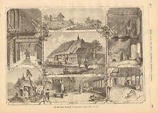 Black Forest Farm, Smokehouse, Kitchen, Hay Loft, 1873 German Antique Print