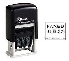 Self Inking Rubber Date Stamp - FAXED - Mini - Black Ink - Shiny S-303