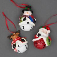 3 Christmas Tree Hanging Ceiling Wall Decoration Santa Snowman Reindeer Bell Set
