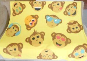New Monkey Emojis Fleece Throw Gift Blanket Monkeys Lover Emoji Emoticon Yellow