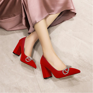 Women's Bowtie Shoes Block High Heel Ol Pointed Toe Slingback Pumps Party