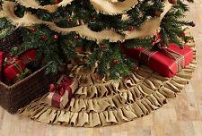 "Burlap Natural Ruffled 48"" Christmas Tree Skirt by VHC Brands"