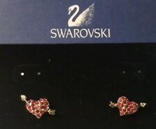 2004 Swarovski Swan Logo ♡ Power Of Love Crystal Collection ♡ Heart Earrings