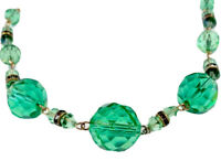 Vintage Gold Tone Green Faceted Glass Necklace - 16 1/2 Inches Long GIFT BOXED