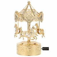 Matashi 24K Gold Plated Music Box with Crystal Studded Carousel Horse Figurine