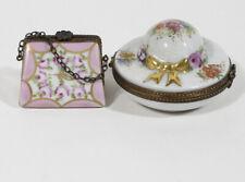 Lot 2 Limoges Trinket Box Purse & Womens Floral Hat Peint Main France