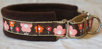 FLEECE LINED MARTINGALE DOG COLLAR FLOWER PRINT - BROWN  NEW VARIOUS SIZES